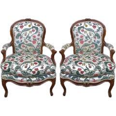 Pair of Louis XV Period Provincial Fauteuils