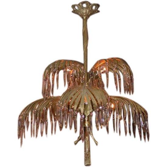 Art Deco Gilt Bronze Six Arm Palm Tree Chandelier At 1stdibs