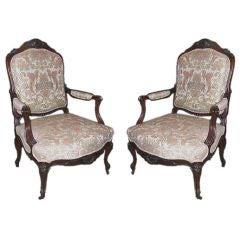 Pair of Victorian Walnut Open Armchairs