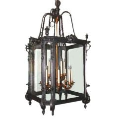 Large Louis XV Style Wrought Iron Lantern