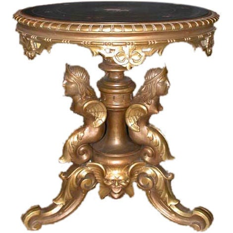 Pietra Dura and Victorian Giltwood Pedestal Base Table