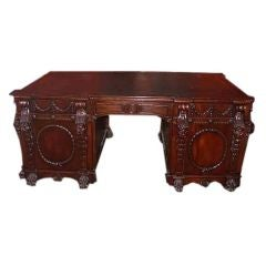 Victorian Chippendale Style Mahogany Partners Desk