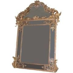 Large Carved Giltwood in Louis XIV Style Overmantel Mirror