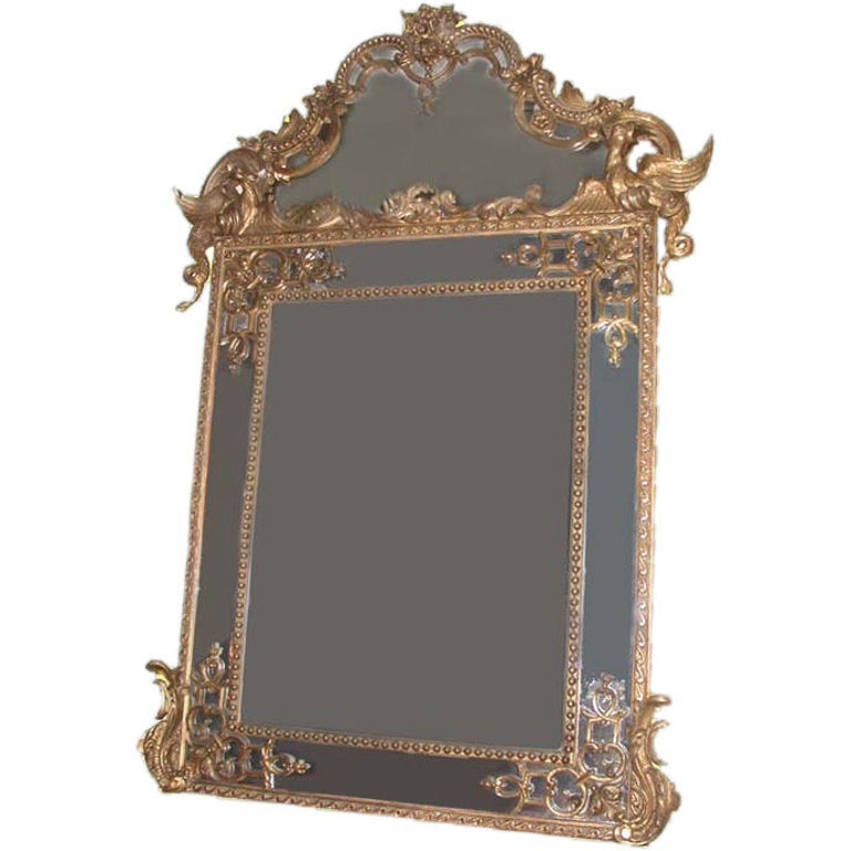 Regence Large Carved Giltwood Mirror  For Sale