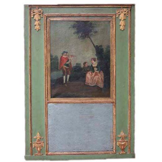 Louis XVI Style Parcel Giltwood Trumeau Mirror