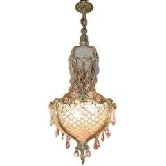 Louis XV Style Bronze and Crystal Basket Weave Chandelier