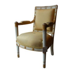 French Empire Style Painted & Parcel Gilt Fauteuil