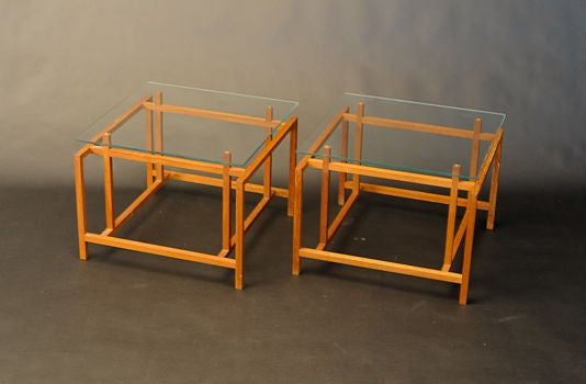 A pair of teak side table's by Henning Norgarrd for Komfort.  Wonderful joint work and a great form.