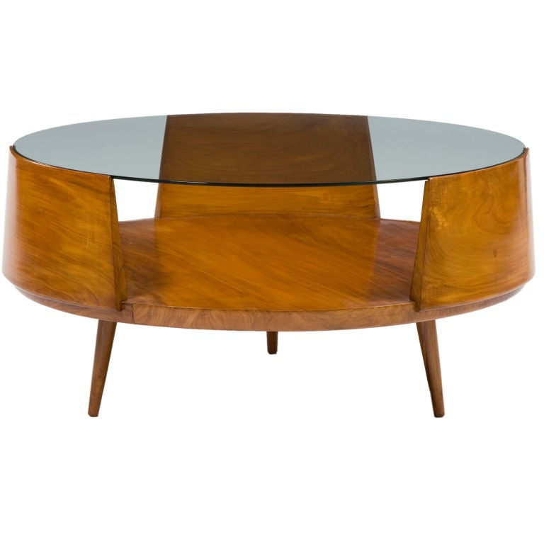 Round coffee table in caviona with glass top by martin eisler