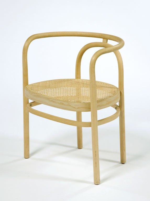 Set of four PK 15 chairs with steam-bent beech frame and woven cane seat. Originally designed, 1979. Manufactured by PP Møbler, Denmark, 1990s.