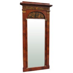 Biedermeier Hall Mirror with Magnificent Pen Works