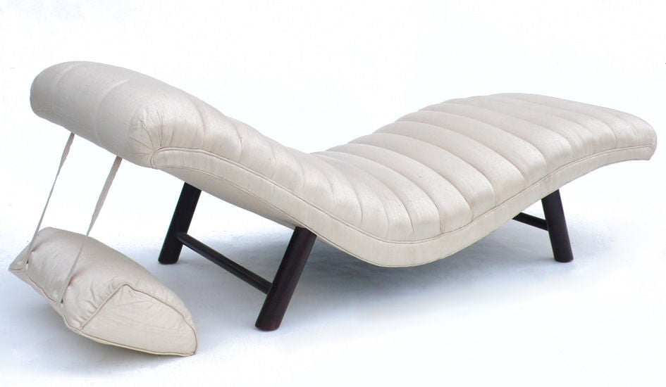 y Tufted Silk James Mont Chaise Lounge at 1stdibs