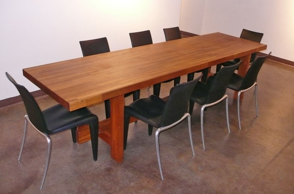 one of a kind custom made butcher block farm table from