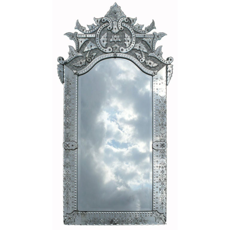 Ornately detailed antique venetian full length mirror at for Floor length mirror for sale