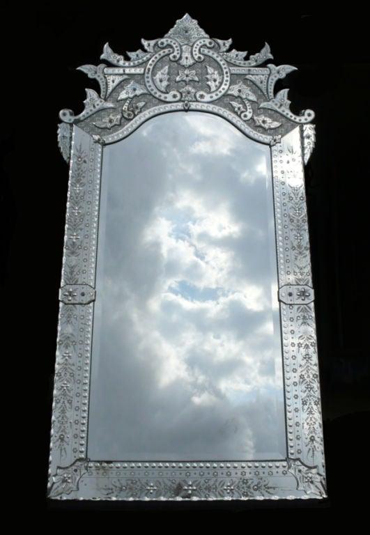 Ornately Detailed Antique Venetian Full Length Mirror 2