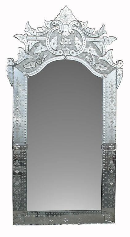 Ornately Detailed Antique Venetian Full Length Mirror At