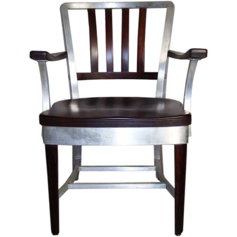 wood and aluminum shaw walker office chair at 1stdibs