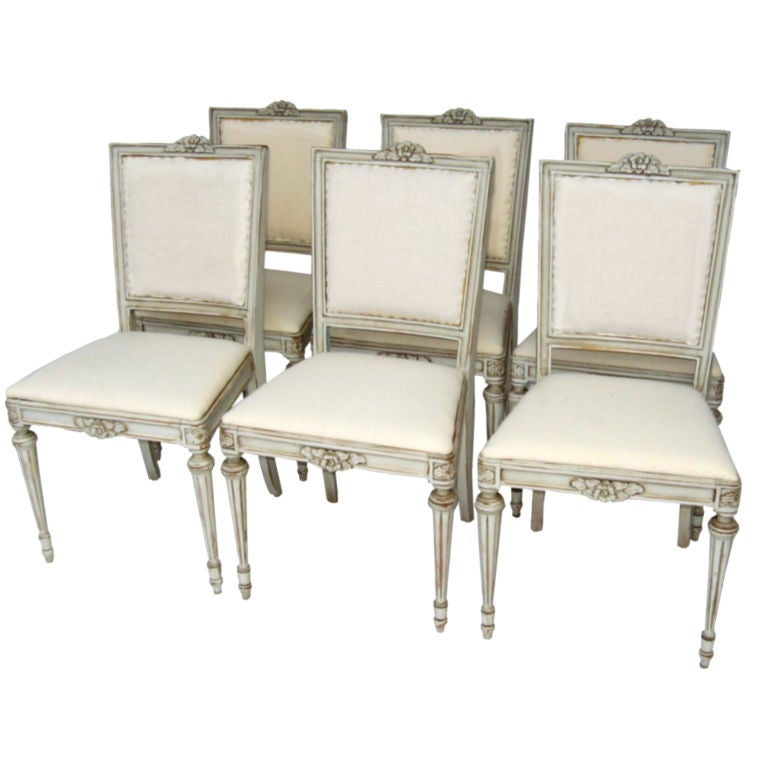 6 Swedish Gustavian Dining Chairs With Milk Paint At 1stdibs