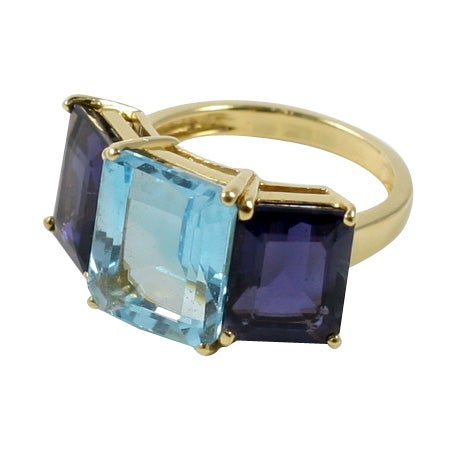 18kt Yellow Gold Emerald Cut Ring with Blue Topaz and Iolite