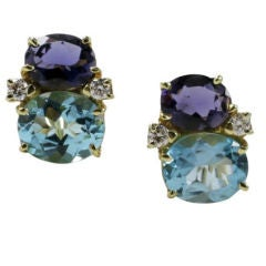Medium GUM DROP™ Earrings with Iolite and Blue Topaz and Diamonds