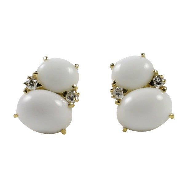 Large GUM DROP™ Earrings with Cabochon White Jade and Diamonds