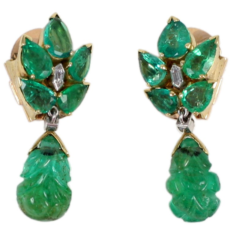 Suzanne Belperron Gold And Emerald Earclips At 1stdibs