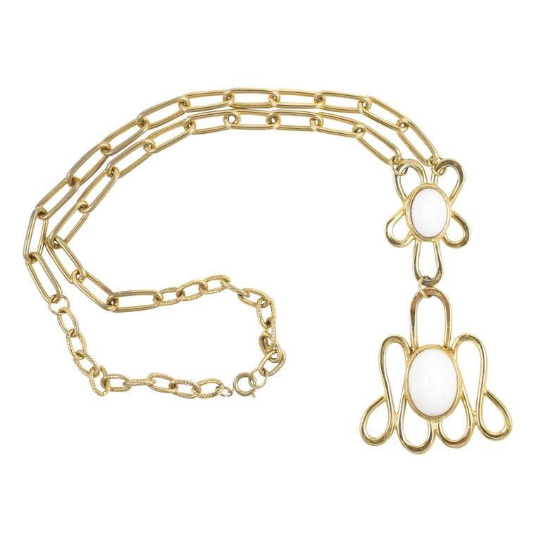 White Cabochon Pendant Necklace