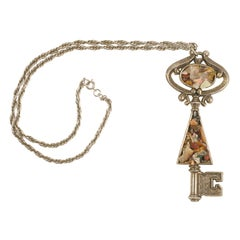 "Large ""Silver"" Key Pendant Necklace, Costume Jewelry"