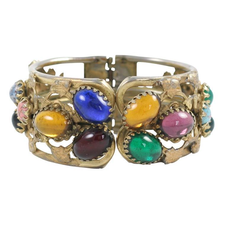 """Gold"" Multi-Color Cabochon Clamp Bracelet, Costume Jewelry"