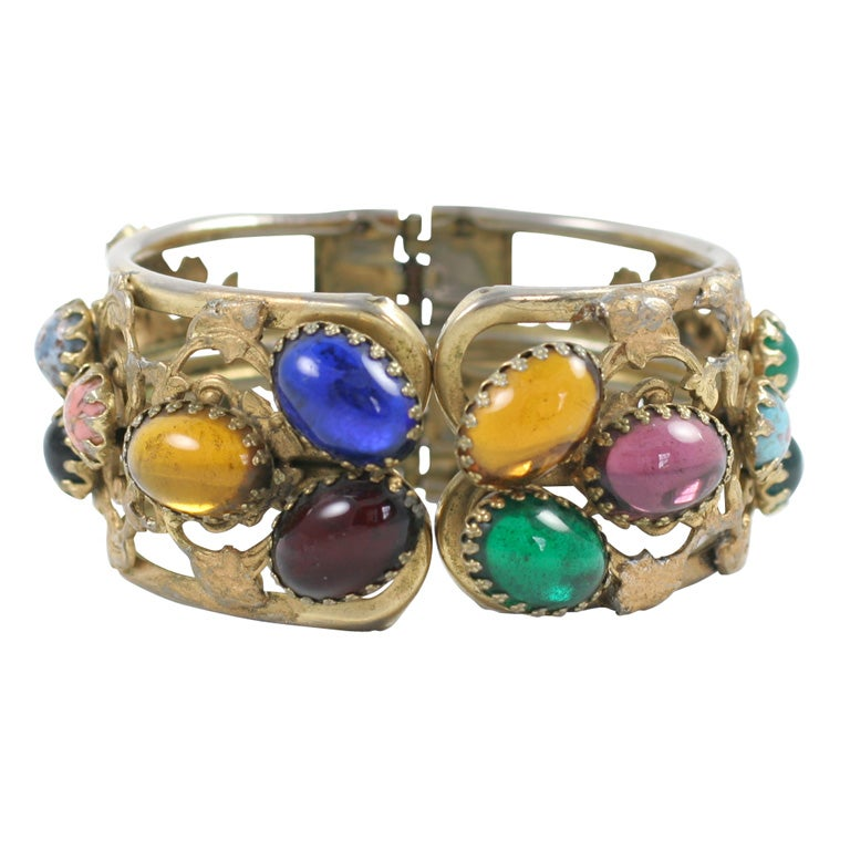 """""""Gold"""" Multi-Color Cabochon Clamp Bracelet, Costume Jewelry For Sale"""