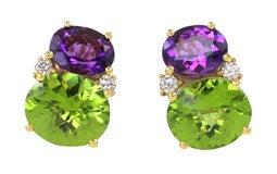 Amethyst & Peridot Twin Stone Earrings