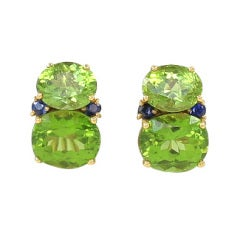 Peridot and Blue Sapphire Twin Stone Earrings