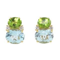 Peridot and Blue Topaz Twin Stone Earrings