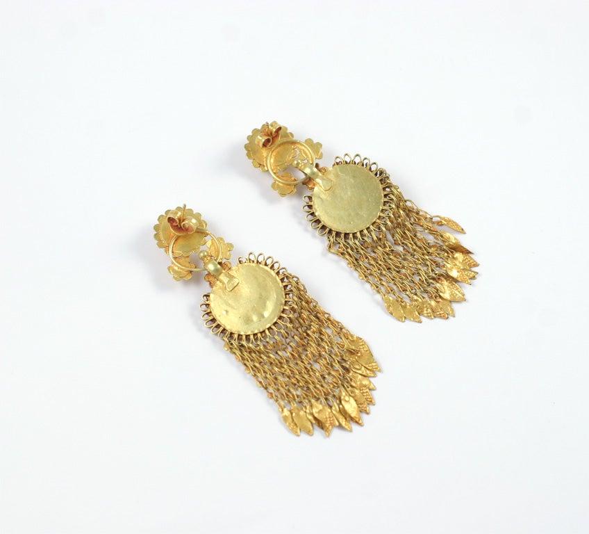 18kt Yellow Gold Flower Earrings 7