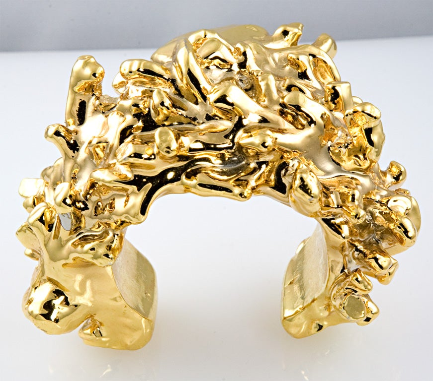 Fantastic gold plated resin cuff fashioned with