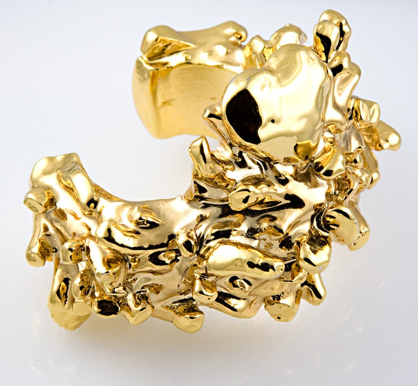 Christian Lacroix Gold Plated Resin Cuff In Excellent Condition For Sale In Palm Desert, CA