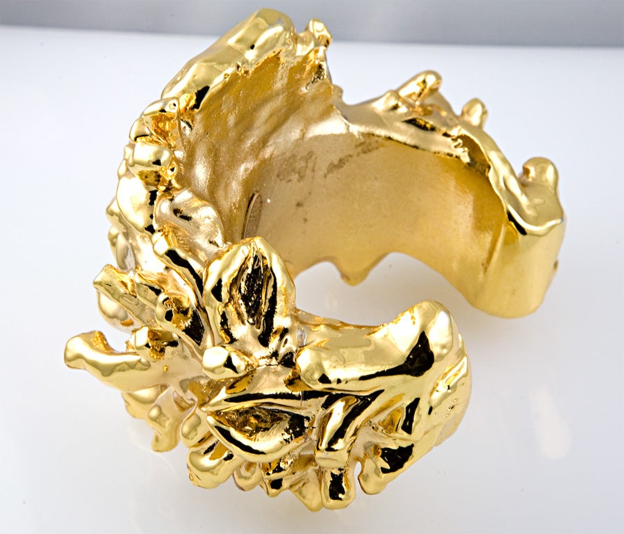 Christian Lacroix Gold Plated Resin Cuff For Sale 1