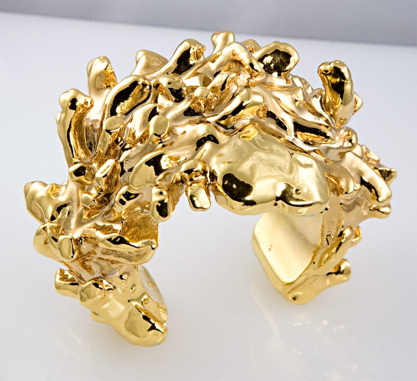 Christian Lacroix Gold Plated Resin Cuff For Sale 4