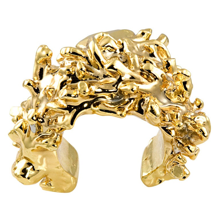christian lacroix gold plated resin cuff for sale at 1stdibs. Black Bedroom Furniture Sets. Home Design Ideas