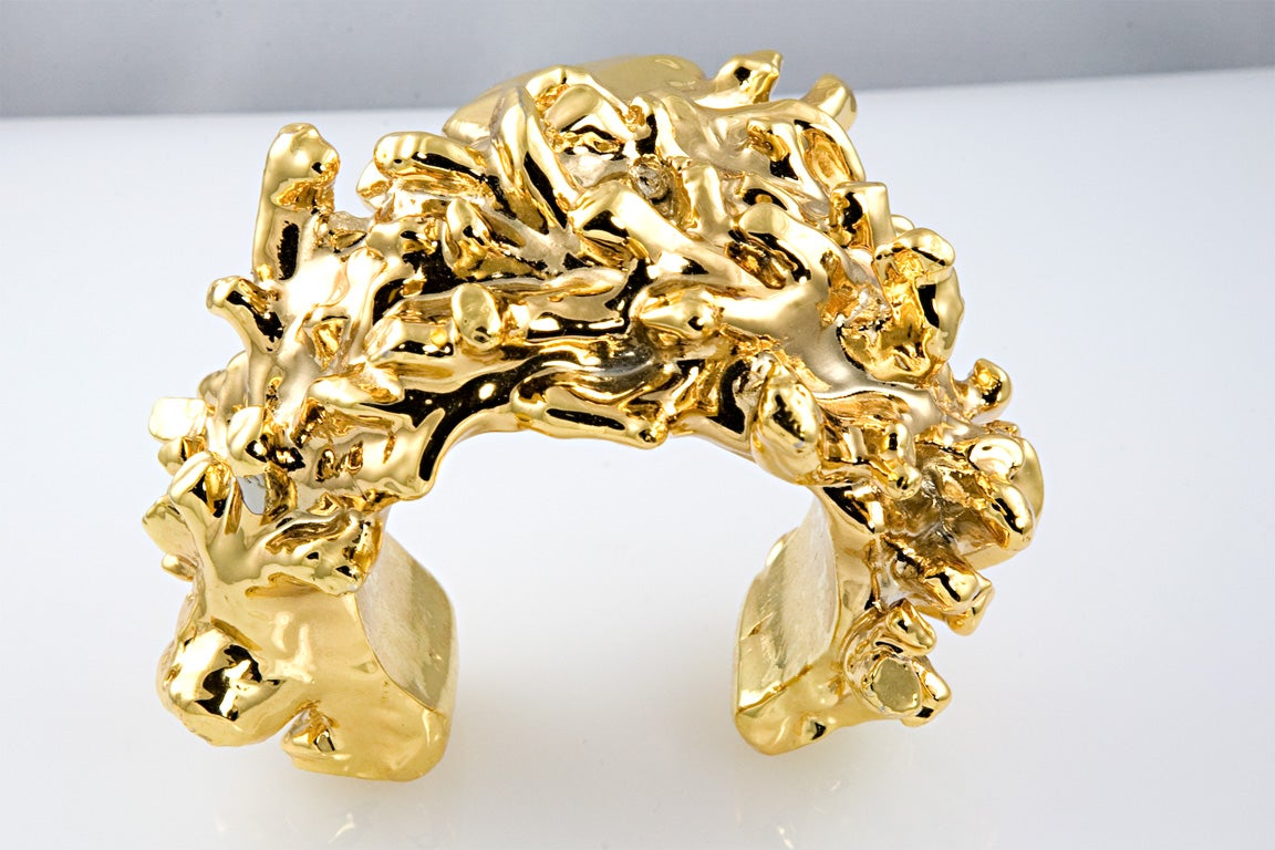 Christian Lacroix Gold Plated Resin Cuff For Sale 6