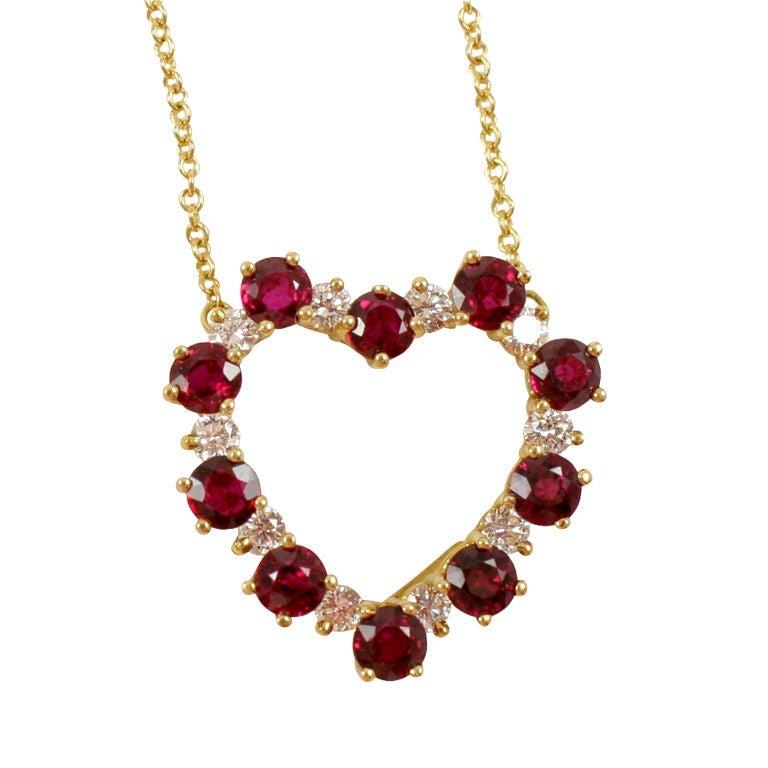 Tiffany Ruby And Diamond 18k Heart Necklace At 1stdibs