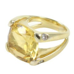 18kt  15mm Cushion Citrine and diamond Cushion RIng