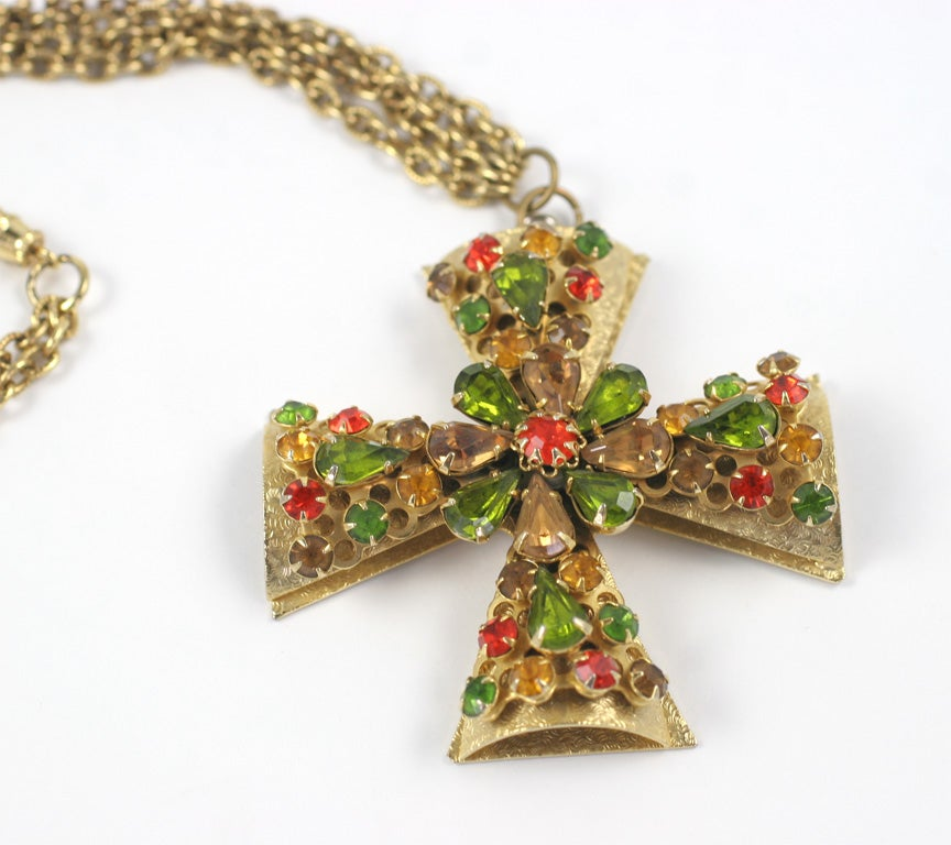 """Gold"" Jeweled Maltese Cross Necklace 4"