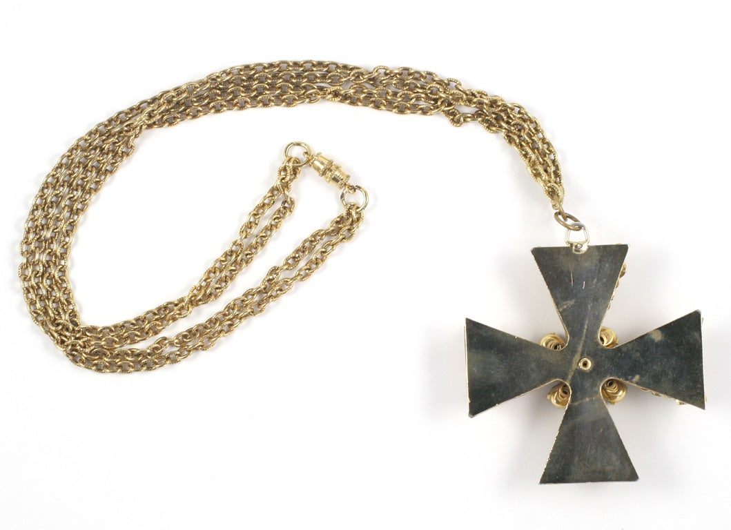 """Gold"" Jeweled Maltese Cross Necklace 7"