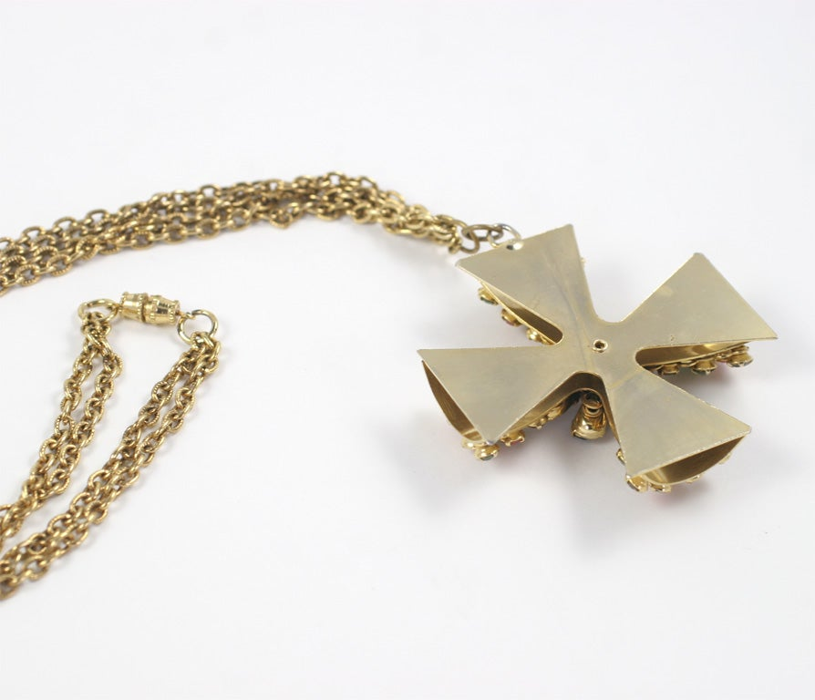 """Gold"" Jeweled Maltese Cross Necklace 8"