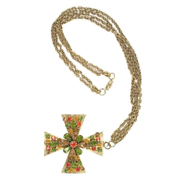 """Gold"" Jeweled Maltese Cross Necklace"