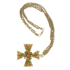 """Gold"" Jeweled Maltese Cross Necklace, Costume Jewelry"