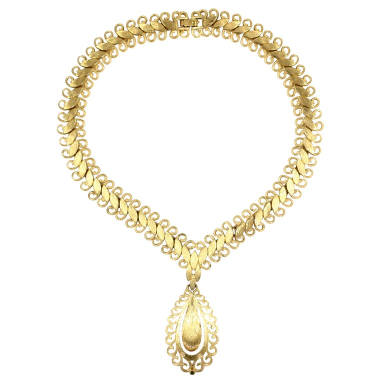 """Monet """"Gold"""" Florentine Necklace, Costume Jewelry For Sale"""