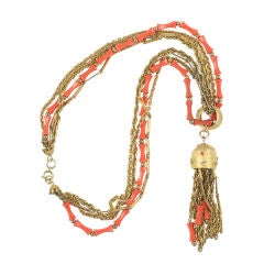 """""""Coral"""" and """"Gold"""" Pendant Necklace"""