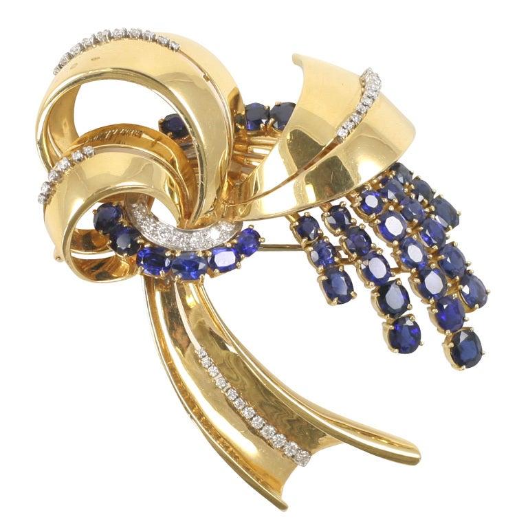 18K Yellow Gold Sapphire & Diamond Retro Brooch
